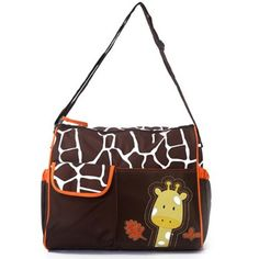 #bebe Mochilas de Bebé Bolsa De Pañales Cambiar Pañal Bolso Multifunctional para madre -Patrón Giraffe naranja