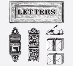 LETTERS FREE VINTAGE VECTOR PRINTABLE | http://www.freevintagevectors.com/2015/10/letter-writing.html