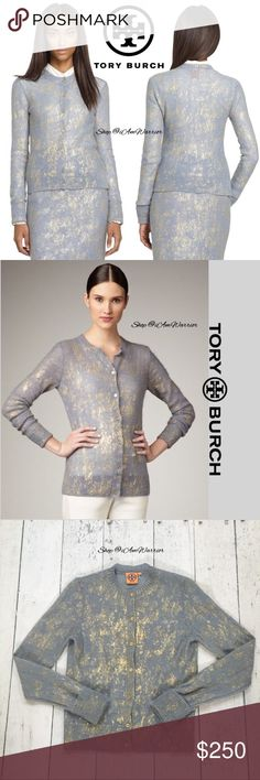 "Tory Burch blue/gray gold shimmer cardigan Stunning rare blue/gray Tory Burch cardigan sweater w/ gold metallic splatter design & gold Tory Burch engraved buttons. Lighter weight, somewhat semi sheer. Excellent condition, smoke free home. Listing is for cardigan only. Pair this w/ a gold, ivory or black pencil skirt or wide leg trousers. Approx 22.5"" long from high shoulder to hem, 18"" across bust. Retailed for $370. . Please read my bio regarding closet policies prior to any inquiries. Just…"