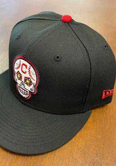 New Era Cleveland Indians Mens Black Sugar Skull 59FIFTY Fitted Hat - 59006053 Cleveland State, Cleveland Browns, Cleveland Indians, Nfl League, Indian Colours, Fan Gear, Sugar Skull, Team Logo, Color Pop