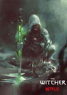 ArtStation - -the Witcher Netflix-, Ömer Burak Önal Fantasy Warrior, Fantasy Rpg, Medieval Fantasy, Dark Fantasy Art, Fantasy Artwork, Warrior Angel, The Witcher, Witcher Art, Dnd Characters