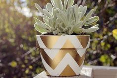 DIY gold spray painted chevron pot