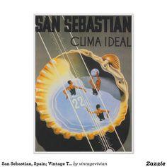 San Sebastian, Espagne ; Affiche vintage de voyage