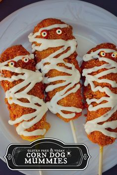 Gluten-free and Vegan Corn Dog Mummies haha!! These would be super cute for Halloween! #MyVeganJournal