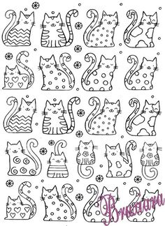 Cat Doodle, Doodle Art, Painting For Kids, Art For Kids, Colouring Pages, Coloring Books, Embroidery Applique, Embroidery Patterns, Hilograma Ideas