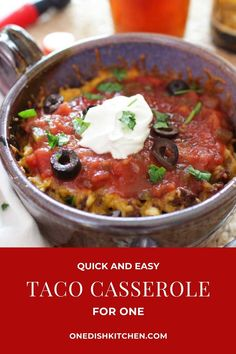 You won't believe how easy it is to make this Taco Casserole! Add seasoned ground beef and cheese between crisp layers of crunchy tostadas and bake in the oven. A quick, easy, and tasty single serving meal. Easy Taco Casserole, Enchilada Casserole, Kitchen Dishes, Food Dishes, Main Dishes, Enchiladas Healthy, Recipe For 1, Meals For One, Cooking For One