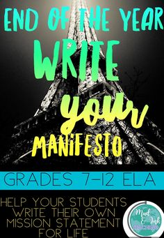 End the year strong having your students write their own personal mission statements!! Great for grades 7-12!!