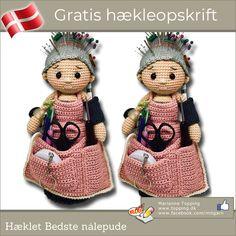 Billedresultat for hækleopskrifter gratis Granny Pattern, Tunic Pattern, Crochet Home, Free Crochet, Crochet Animals, Teddy Bear, Crochet Patterns, Arts And Crafts, Toys