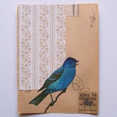 Blue #Bird by Jen Gibbs  original #collage  art, vintage, paper, wallpaper, book page, nature, eco, recycled