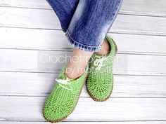 Crochet pattern slippers with rope solessoles por magic4kids