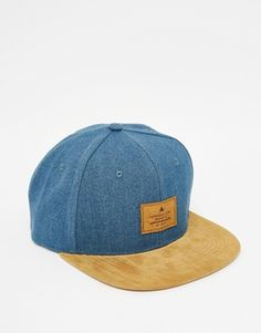 2e4c64ab8e2 ASOS Snapback Cap In Blue Washed Canvas With Tan Faux Suede Peak at asos.com