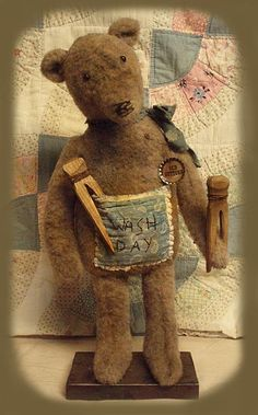 E-PATTERN Primitive Doll PATTERN Grungy Bears Standing or Sitting. $8.50, via Etsy.