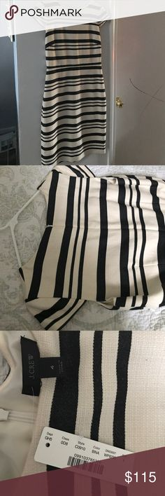 """J.Crew cap sleeve dress. SIZE & FIT Fitted silhouette. Falls above knee. 41"""" from high point of shoulder (based off size 6). Overall Fit based on user reviews  runs small true to size runs large PRODUCT DETAILS This stripe cap-sleeve dress is the easy, chic """"get dressed with your eyes closed"""" (read: before coffee) piece that makes Monday mornings so much more tolerable.  Cotton/poly. Back zip. Lined. Dry clean. Import. Item C0910. J. Crew Dresses"""