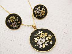 ... Damascene Necklace Earrings. 1960s Japanese jewelry. LA MODE A FLEURS