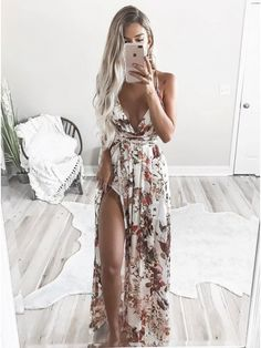 BerryGo Sexy v neck backless satin long dress Women strap floral print boho maxi dress High split causal summer dress vestidos Fashion Mode, Look Fashion, Mode Outfits, Fashion Outfits, Trendy Outfits, Prom Dresses, Formal Dresses, Bridesmaid Gowns, Sexy Summer Dresses