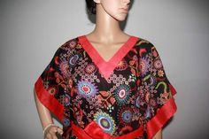 Black and red floral prints caftan, beach cover, lounge wear, cotton summer dress One size. $30.00, via Etsy.
