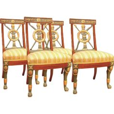 Set of Four Russian Neoclassical Chairs | From a unique collection of antique and modern dining room chairs at http://www.1stdibs.com/furniture/seating/dining-room-chairs/