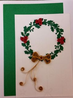 Quilled Christmas Wreath Greeting Card by WhimseyChic on Etsy