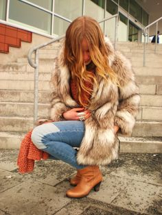 faux fur jacket love it ...love the whole outfit