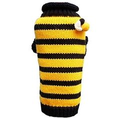 Bee Happy Dog Sweater: bumblebee black and yellow stripe winter sweater for dogs