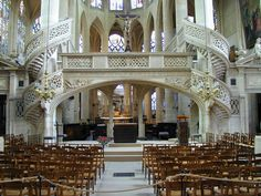 Interior of St-Etiene-du-Mont. The oldest organ in Paris is housed in this church.