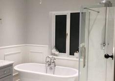 THE BATHROOM REMODEL - The Hoppy Home Cottage Renovation, Bathroom Lighting, Bathroom Ideas, Bathrooms, New Homes, Bathtub, Mirror, Interior, House