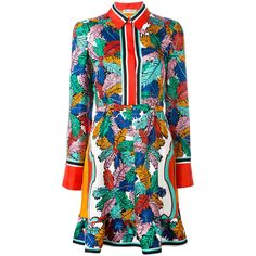 Emilio Pucci Abstract Print Shirt Dress ($1,886) ❤ liked on Polyvore featuring dresses, emilio pucci dress, colorful dresses, multi print dress, silk dress and multicolored dress