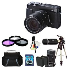 Fujifilm X-E1 with 18-55mm Lens + 16GB SD, Filter Kit, 2 Replacement NP-W126 Batteries, Charger, Case, Full Size Tripod, Cleaning kit - Accessory Package by Fujifilm. $1262.99. This Package Includes:  * Fujifilm X-E1 with 18-55mm Kit (Black) * Professional 3 Piece Filter Kit (UV-CPL-FLD) * 16GB Memory Card * High Speed Card Reader * 2 Extended Life Replacement Battery * AC/DC Rapid Home & Travel Charger * Carrying Case * Full Size Tripod * Starter Kit (Table Top Tr...