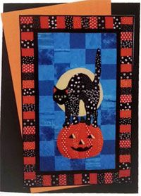 Izzie Black Cat and Pumpkin Wallhanging Pattern by BJ Designs at KayeWood.com. Izzie Applique and Pieced Quilt Pattern by BJ Designs and Patterns features a colorful folk art inspired black cat standing upon a smiling pumpkin under a bright full moon night. This quilt is assembled using traditional piecing and fusible applique. http://www.kayewood.com/item/Izzie_Black_Cat_and_Pumpkin_Wallhanging_Pattern/3771 $15.50