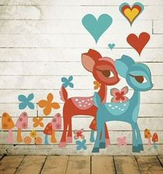 "Baby Deer Wall Decal.  This Deerly Beloved wall decal will make you hop through the forest with happiness. Put this hip deer wall sticker in your room and you will feel all warm and fuzzy with the hearts and magic mushrooms to accompany them. These gentle sticker art creatures are lovely, doe-eyed, and won't eat all the trees in your yard.    Each kit contains: 1 pink deer & 1 blue deer (21.5 x 14""), 18 flowers, 6 hearts, 9 mushrooms and 12 candies."