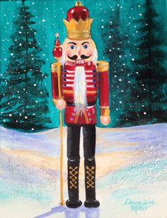 December Calendar - Coffee and Canvas Christmas Canvas, Christmas Art, Vintage Christmas, Christmas Stockings, Christmas Decorations, Christmas Ornaments, Christmas Drawing, Christmas Paintings, Nutcracker Christmas