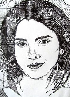 Pen and Ink Doodle Portrait - Conway High School Art Project