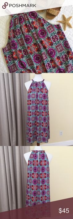 "Cremieux Pattern Dress Super cute and stylish - vibrant patterned poly Grecian style dress - key-hole back opening - fully lined - length: 39"" - laying flat armpit to armpit: 21"" and hips: 21"" - EUC Daniel Cremieux Dresses"