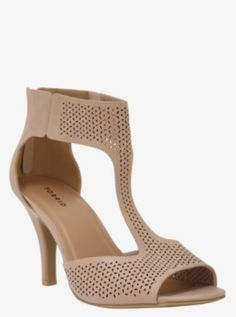 Geo Perforated T-Strap Sandals (Wide Width)