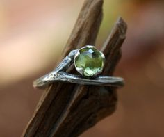 Peridot gemstone twig ring-rose cut-natural branch-sterling silver handmade-August Birthstone-made to order. by aifosjewels on Etsy https://www.etsy.com/uk/listing/232061990/peridot-gemstone-twig-ring-rose-cut