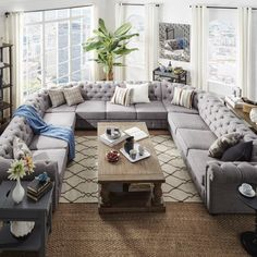 Knightsbridge Tufted Scroll Arm Chesterfield 11-seat U-shaped Sectional by SIGNAL HILLS