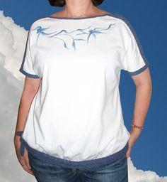 Camisetas con adornos - Camiseta blanca con encaje - hecho a mano por Pat-Pil en DaWanda Mens Tops, T Shirt, Fashion, Embellished Crop Top, Cotton T Shirts, Man Women, Lace, Slip On, So Done