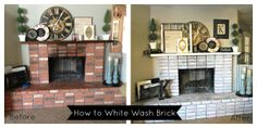 """Update an old brick fireplace with a white wash treatment for a couple bucks! Find out """"how to White Wash Brick"""" using this super easy tutorial"""