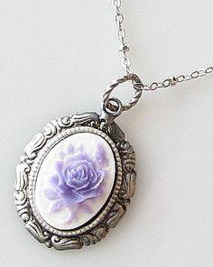rose cameo necklace flower cameo jewelry purple by KriyaDesign