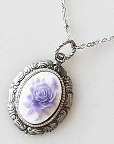 rose cameo necklace flower cameo jewelry purple by KriyaDesign