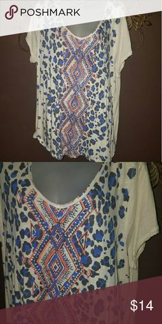 Lucky Brand Boho Tee Lucky Brand Boho Tee size 2x Super cute Distressed Tribal design! Lucky Brand Tops Tees - Short Sleeve