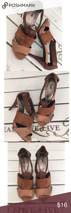 Tri-Color Fabric Sandals Tri-color faux suede fabric sandals by Fioni. These sandals slip on with brown elastic at the ankle straps. 3 1/2 inch triangular heels. Excellent condition with clean bottoms. Great neutral shoes! FIONI Clothing Shoes Heels