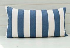 Striped Lumbar Throw Pillow Cushion Cover  22ins x 12ins Deck Chair Nautical Stripe Style Blue White  Fabric