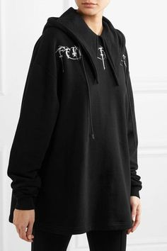 Balenciaga - Femme Fatale Oversized Embroidered Stretch-jersey Hooded Top - Black - x large