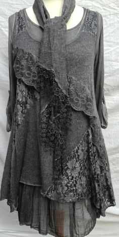 Italian Layering Lagenlook Quirky Layering 2 piece Dress Tunic Scarf Charcoal | eBay