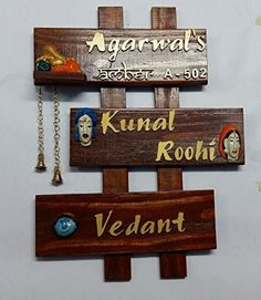 Buy Online Family Name Plates, Karigari Wooden Outdoor Name Plates, Designer  Couple Name Plate In Multi Designs, Wall Decor Ganpati Name Plate On  SilkRute