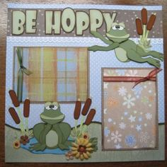 frog scapbook layouts | Boy Girl Frog Don'T Worry Be Hoppy Paper Piecing Premade Scrapbook ...
