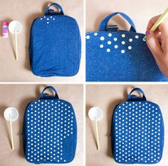 diy: polka dot backpack tutorial  simple, and a perfect way to spruce up your child's bag!  // armelle blog