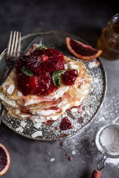 Coconut Honey Crepes with Whipped Mascarpone + Blood Orange Compote for your next dinner party. Crepe Recipes, Brunch Recipes, Breakfast Recipes, Dessert Recipes, Desserts, Breakfast And Brunch, Food Porn, Tasty, Yummy Food