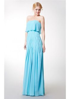 Strapless Split Blue Zipper Chiffon Sleeveless A-line Floor Length Ruched Bridesmaid Dresses